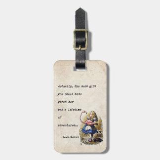 Étiquette À Bagage Alice dans la citation d'aventure du pays des