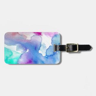 Étiquette À Bagage Aquarelle abstraite bleue magenta moderne chic de
