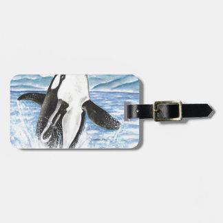 Étiquette À Bagage Aquarelle ouvrant une brèche la baleine d'orque