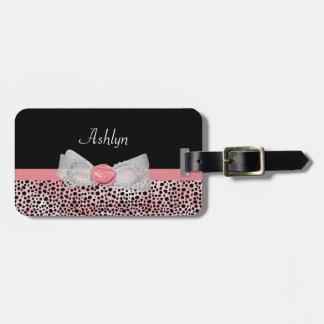 Étiquette À Bagage Arc mignon d'impression rose et noir de guépard