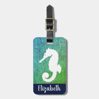 Étiquette À Bagage Arête de hareng de tonalités d'océan et hippocampe