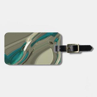 Étiquette À Bagage Art abstrait gris et bleu