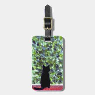 Étiquette À Bagage Art de chat de traitement, peinture de chat noir