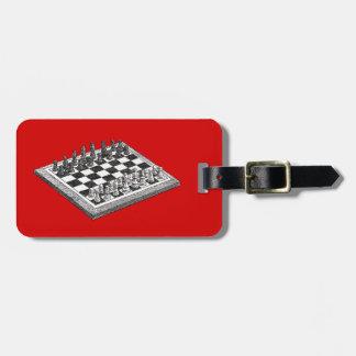 Étiquette À Bagage Art de cru d'échiquier et de pièces d'échecs