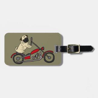 Étiquette À Bagage Art drôle de moto d'équitation de chien de carlin