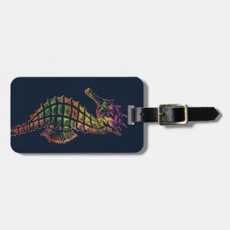 Étiquette À Bagage Art très coloré d'hippocampe