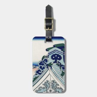 Étiquette À Bagage Art vintage japonais Fuji de temple de Honganji