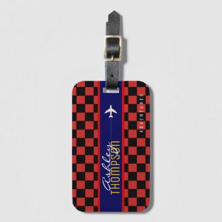 Étiquette À Bagage aventures checkered rouges de transports aériens