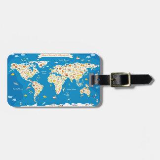 Étiquette À Bagage Badine la carte du monde avec des animaux