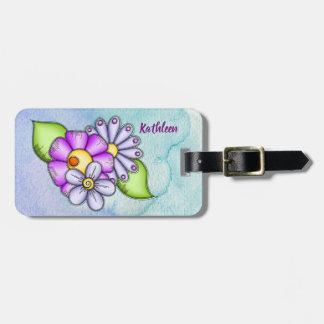 Étiquette À Bagage Bagage de fleur de griffonnage d'aquarelle de