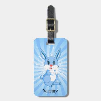 Étiquette À Bagage Bande dessinée bleue mignonne de lapin