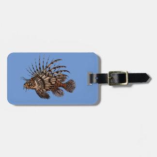 Étiquette À Bagage Beaux et simples poissons vintages de lion