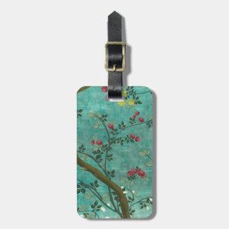 Étiquette À Bagage Beaux papillons antiques vintages d'arbre de fleur