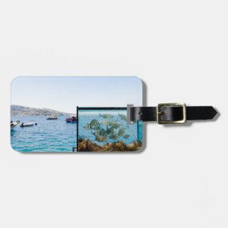 Étiquette À Bagage Belle vue de mer de Santorini