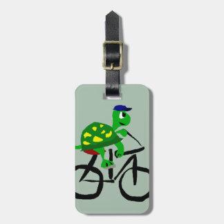 Étiquette À Bagage Bicyclette drôle d'équitation de tortue