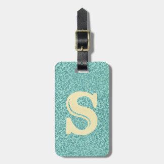 Étiquette À Bagage Bleu floral antique l'initiale de monogramme de la