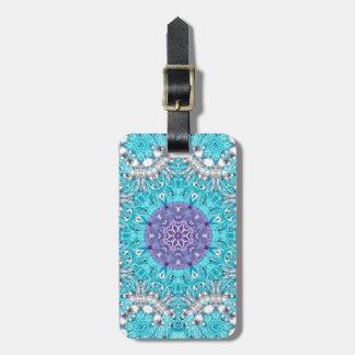Étiquette À Bagage Bohémien marocain de bleu de turquoise de broderie