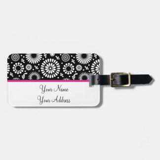 Étiquette À Bagage Boho fleurit le motif floral de vecteur noir et