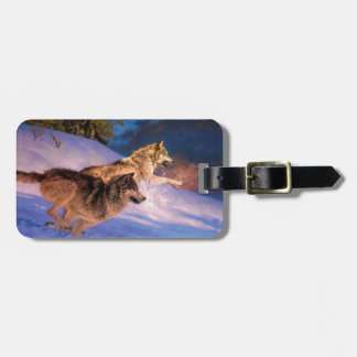 Étiquette À Bagage Brun de loup - loup de neige - deux loups