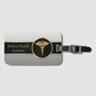 Étiquette À Bagage Caducée médical professionnel d'or - étiquette de