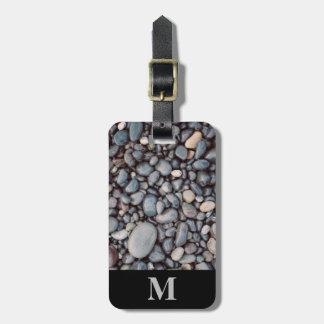 Étiquette À Bagage Cailloux gris de roche de voyage de monogramme