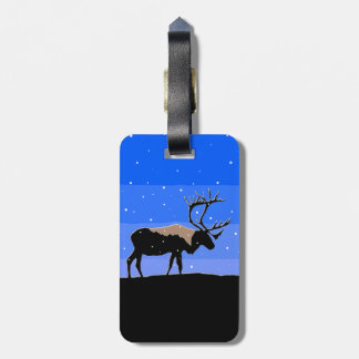 Étiquette À Bagage Caribou en hiver