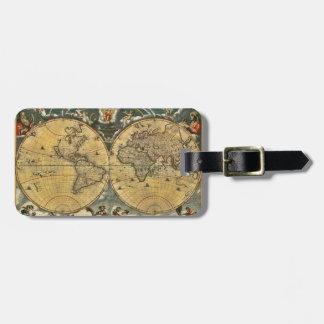 Étiquette À Bagage Carte antique #2 affligé du monde