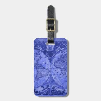 Étiquette À Bagage Carte bleue J Blaeu 1664 du monde d'antiquité de