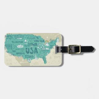 Étiquette À Bagage Carte de griffonnage des Etats-Unis