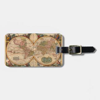 Étiquette À Bagage Carte de Vieux Monde par Nicolaas Visscher