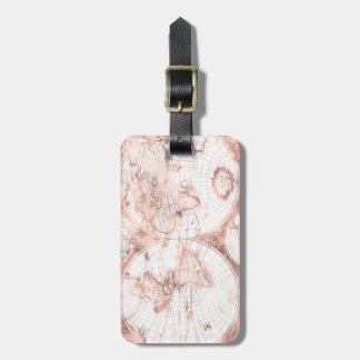 Étiquette À Bagage Carte rose du monde d'antiquité de parties