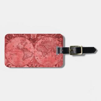 Étiquette À Bagage Carte rouge J Blaeu 1664 du monde d'antiquité de