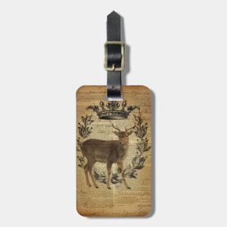 Étiquette À Bagage Cerfs communs rustiques de mâle de whitetail
