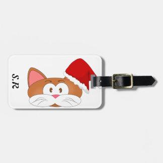 Étiquette À Bagage Chat de Père Noël