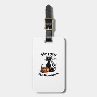 Étiquette À Bagage Chat noir heureux de Halloween