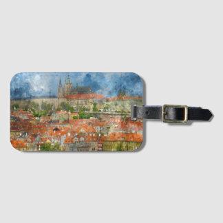 Étiquette À Bagage Château de Prague avec le pont célèbre de Charles