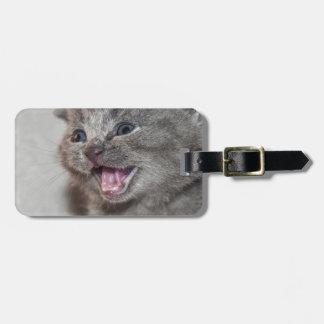 Étiquette À Bagage Chaton de gris de Miaowing