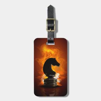 Étiquette À Bagage Chevalier d'échecs en flammes