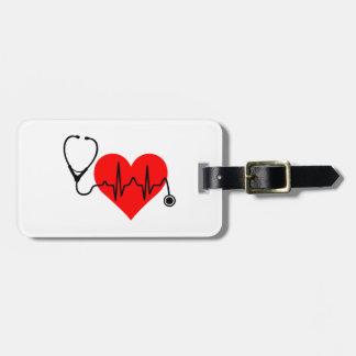Étiquette À Bagage Coeur de battement de coeur de stéthoscope