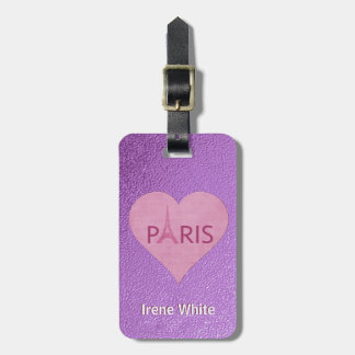 Étiquette À Bagage Coeur élégant pourpre de Tour Eiffel   Paris pour