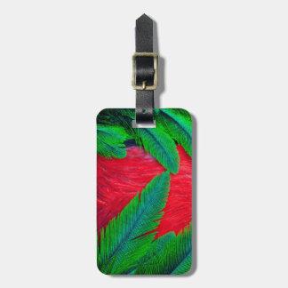 Étiquette À Bagage Conception resplendissante de plume de quetzal