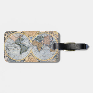 Étiquette À Bagage Cool antique de carte du monde