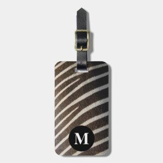 Étiquette À Bagage Copie animale de rayure de zèbre blanc noir de