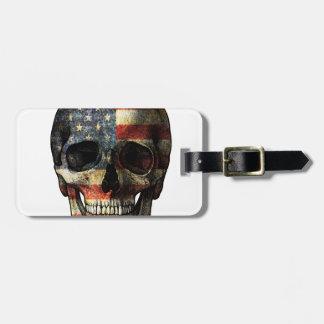 Étiquette À Bagage Crâne de drapeau américain
