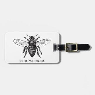 Étiquette À Bagage Cru noir et blanc d'abeille de travailleur