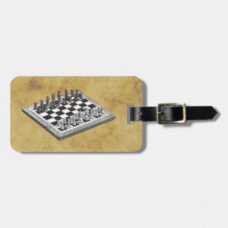 Étiquette À Bagage Cru WBG d'échecs et d'échiquier affligé