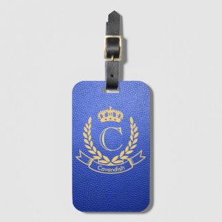 Étiquette À Bagage Cuir de moquerie de bleu royal avec la crête de