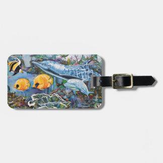 Étiquette À Bagage Dauphin coloré et poissons tropicaux