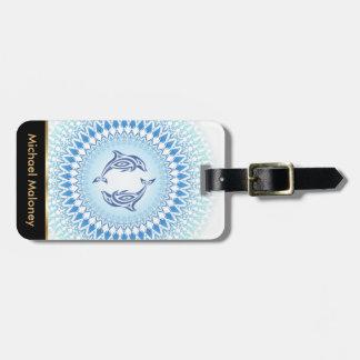 Étiquette À Bagage Dauphins blancs bleus de mandala