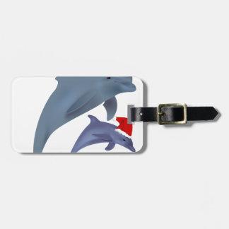 Étiquette À Bagage dauphins de père Noël